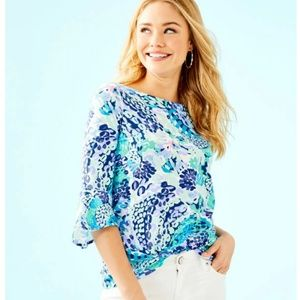 NWT Lilly Pulitzer Fontaine Bell Sleeve Top